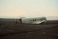 beloved/plane (Lighthouse Keeperess) Tags: travel man black film beach plane 35mm iceland analogue wreck beloved