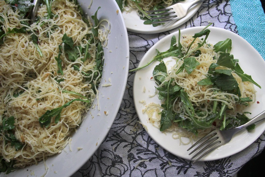 angel hair pasta w/ chile lemon & arugula