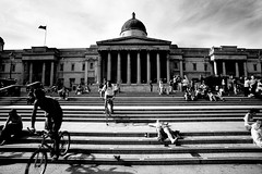 National Gallery Steps, London (broadswordcallingdannyboy) Tags: street city summer urban bw london architecture canon steps streetphotography photojournalism trafalgarsquare wideangle nationalgallery 1ds canoneos cycles londonstreets eos1ds londonist londonarchitecture nationalgallerysteps bwlondon bwcity concretebeauty urbanbw rawstreetphotography leonreilly leonreillyphotography copyrightleonreilly