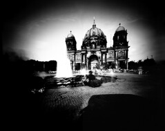 Berlin Cathedral Seen by a Dumpster (Trashcam Project) Tags: bw berlin dumpster cathedral pinhole tonne trashcam mlltonne tonnografie