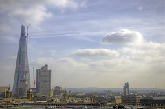 Alreet to Shardie from One New Change Rooftop Terrace (yorkshire stacked) Tags: sky london rooftop clouds skyscraper march spring construction nikon contrail colours terrace sunny cranes hazy shard hdr theplace bracketing guyshospital photomatix bracketed crystalpalacetransmittingstation onenewchange nikkor18105mmvr nikond7000