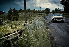 We're on a road to nowhere... (c_c_clason) Tags: road leica flowers car 35mm armenia m8 carlzeiss biogon aparan