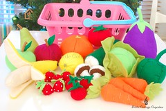 Fruits & Veg (Little Cottage Cupcakes) Tags: orange fruits vegetables tomato mushrooms pepper toys lemon cucumber strawberries felt banana cabbage pear aubergine apples carrots cherrytomatoes littlecottagecupcakes