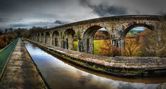 Chirk Aqueduct (Richard Deane) Tags: trees panorama photoshop canal arches chirk aqueduct nik hdr topaz photomatix