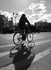 Bright days (vieweronline) Tags: road blackandwhite bw paris france monochrome bike bicycle clouds contrast reflections shadows noiretblanc candid streetshots streetphotography highlights nb portfolio streetscenes zebracrossing pedestriancrossing g12 candidshots photosderue ahmedmokhtar canong12