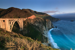 Bixby bridge (s2kologist) Tags: ocean trees sunset sky seascape hot beach water landscape island sand rocks waves sandy bigsur peaceful sunny lazy breezy bixbybridge vast