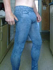 jeggings (trapez) Tags: blue jeans leggings bulge thight jeggings
