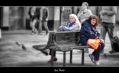 Red Queen And White Queen, but Where's Alice ? || She's Behind You ! (Anir Pandit's Photo Art) Tags: street people canon alice glasgow candid wonderland 500d selectivecolouring copyanirpandit