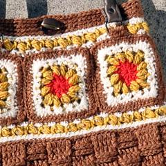 Close up - Granny squares handbag + recycled handles (Kiwi Little Things) Tags: crochet handbag grannysquares