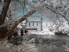 Wakefield - Chantry Chapel on the Calder (markoneswift) Tags: colour canon ir powershot calder infrared wakefield converted false hoya r72