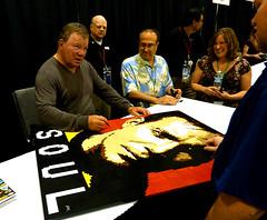 """Shatner signing """"Going Boldly..."""" (Dave Shaddix) Tags: lego mosaic awesome williamshatner phoenixcomicon"""
