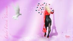 Vanessa dreaming of Paris (piloukam) Tags: red black paris rot girl lady fetish rouge fire shoes noir highheels barbie gimp toureiffel heels spike feuer nuit ville feu compositing lany fekete lfv hautstalons ladyfetishvanessa