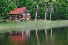 """Boekeloo Log Cabin""  Sleeping Bear Dunes National Lakeshore (Michigan Nut) Tags: old red usa lake reflection water landscape spring pond cabin midwest michigan cottage landmark historic logcabin sleepingbeardunes benziecounty boekeloolodge michigannutphotography"