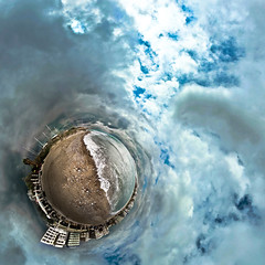 Not quite summer yet (amfipolos) Tags: sea summer beach photoshop 360 athens greece sonycybershot polarcoordinates littleplanet polarpanorama stereographicprojection pixelbender