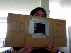 I'm thinking of heading to Venice to watch the transit. (RobotSkirts) Tags: money sign solar venus homeless cardboard transit donation eliot panhandling eliotphillips uploaded:by=skitch shade14