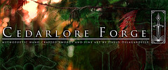Cedarlore Forge Banner (Cedarlore Forge) Tags: irish art leather bronze fire iron pattern hand steel smoke traditional knife progress craft folklore legendary norwegian fantasy lapland sword copper historical nordic celtic knives dagger blacksmith forge coal swords saga brass damascus mythology sculptures blades forged artisan weapons heroic nord anvil oldworld spear welded pilgrims norse artistry wrought metalsmith nordland mythic folktale tooled bladesmith seax smote sver svord lngsvrd cedarlore
