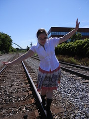 Catzi Lacerenza - Salmon Skirt (Sarah Sweeney Photography) Tags: railroad portrait woman senior girl youth train pretty boots grunge young tracks salmon skirt doc martins fallingwater