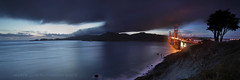 Night Falls Over the Headlands (Andrew Louie Photography) Tags: ocean california bridge sunset sun tree tower beach set night clouds canon golden bay spring gate san francisco moody pacific south marin jazz panoramic marshall area headlands