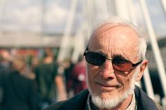 Bridge Portraits (Luke_23) Tags: bridge portrait white man blur london westminster face sunglasses canon hair 50mm golden aperture dof bokeh jubilee bald 7d embankment