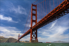 Golden Gate Postcard (LifeLover4) Tags: california ship nopeople goldengatebridge sanfranciscobay shipping marinheadlands tanker circularpolarizer 550d efs1755mmf28isusm t2i parkpic lifelover4 stickneydesign ggb75