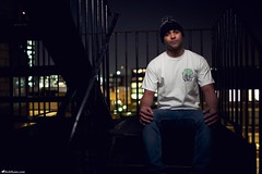 Darryl for AnyForty (Rick Nunn) Tags: portrait white male guy london rooftop hat bokeh photojournalism rick tshirt location list shoreditch fireescape brand nunn canonef35mmf14l anyforty