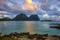 Final sunset (NettyA) Tags: light sunset beach clouds landscape boats island sand rocks australia nsw unescoworldheritage lordhoweisland thelagoon 2016 lhi mtgower mtlidbird climateforlordhowe