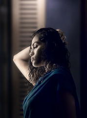 Untitled (georgerani532) Tags: woman colour beauty hair curly mumbai lowkey sari innamoramento canon70d ranigeorge