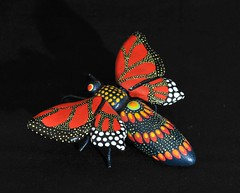 Red Winged Butterfly Mexican Pottery (Teyacapan) Tags: folkart butterflies mexican clay aguilar pottery mariposa ocotlan oaxacan