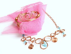 Jewelry (Karen_Chappell) Tags: pink stilllife white necklace jewelry bracelet copper product tulle