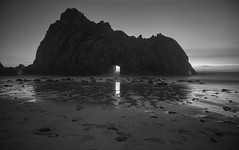 Oh oh the night comes down (PeterThoeny) Tags: california longexposure blackandwhite beach water monochrome night coast raw outdoor bigsur clear mysterious mystical hdr californiacoast supernatural pfeifferbeach photomatix fav200 1xp nex6 selp1650