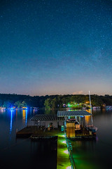 Starry Night at the Lake - 5 (taylorsloan) Tags: sky lake green night stars galaxy lakeoftheozarks starrynight noob clearnight starsinthesky takingnightshots