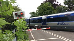 NIR CAF 3004, Springfarm AHB, June 2016 (nathanlawrence785) Tags: road old man train lights crossing diesel railway class level barrier ni lc translink railways 3000 caf 3004 nir antrim dm2 dmu ahb springfarm c3k