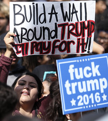 Trump protest (hammerwold) Tags: donald trump campaign protest unlawful assembly police president presidential gop republican nominee san diego california bernie sanders