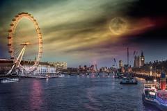Magic night (RoCafe) Tags: city uk bridge urban london thames night photomanipulation river europe unitedkingdom londoneye bigben nikond600