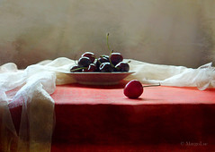 Cherries Days ... (MargoLuc) Tags: light red stilllife white texture window fruit backlight cherries shadows dish natural sweet indoor days rainy pottery tablecloth satin skeletalmess