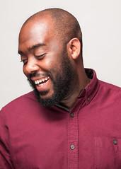 Nick Adams (philipharpr) Tags: red portrait male smile shirt umbrella beard teeth headshot iso hasselblad 100 f8 1250 80mm p45 h2d phaseone dlite rx400 elinchromdx400