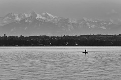 With Complete Peace of Mind (V.Charvet) Tags: bw water fishing nikon quiet suisse swiss calm nb fisher pecheur peche calme lacleman versoix nikond300