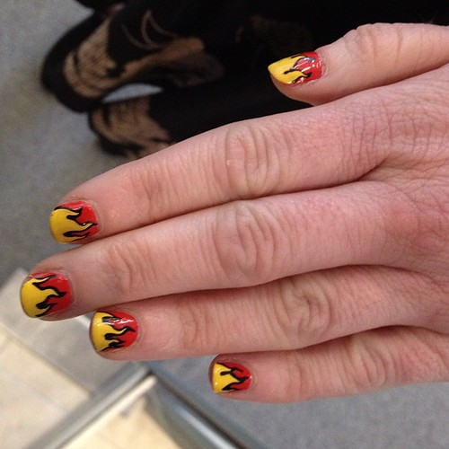 #Prada fire inspired nail art