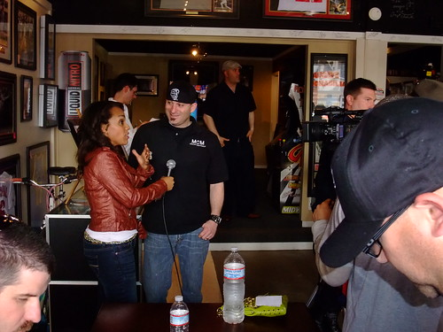 Tony Rohatch CEO and founder of ManCave Memorabilia being interviewed by KRON during the Mike Tyson appearance
