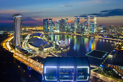 Singapore Flyer - Towards a perfection View (Kenny Teo (zoompict)) Tags: park bridge blue light sunset sky cloud seascape news reflection building tourism water beautiful skyline architecture night canon wonderful poster lens landscape boat photo yahoo google scenery singapore cityscape photographer waterfront view walk skylines tourist casino best getty bluehour kenny flyers singaporeriver marinabaysands bestphotographer bestscenery zoompict eos5dmark2 kennyteo