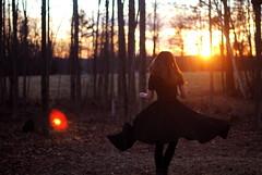 (hannah ) Tags: trees winter sunset portrait sun girl self golden woods bokeh skirt hour
