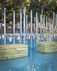 Children's Park Fountain (ken mccown) Tags: california blue water fountain sandiego pole copper landscapearchitecture childrenspark peterwalkerandpartners