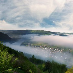 Low clouds amidst the vineyards with views of the Moselle (Bn) Tags: morning blue sky panorama horse mist mountain nature water ecology clouds river germany landscape geotagged deutschland shoe vineyard spring topf50 scenery wolf day village wine cloudy path low foggy royal panoramic vineyards crop grapes vista environment crops winding agriculture curved viewpoint uturn topf100 environmentalism mont grape mosel riesling ecosystem rheinlandpfalz slopes moselle vinyards krv landal agronomy moesel rhinelandpalatinate krov ubend 100faves 50faves winegrowing fruitcrops panview geo:lon=7108154 wijnleerpad geo:lat=49985973