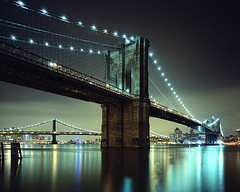 Brooklyn Bridge, New York City (Ares911) Tags: nyc longexposure newyork film brooklyn night construction manhattan wideangle southstreetseaport brooklynbridge manhattanbridge eastriver 4x5 monorail largeformat williamsburgbridge provia100f cambo epsonv700 colorefex nikoncapturenx nikkor75mmf45 45sf