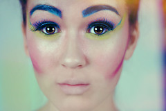 ET (-jitters) Tags: lighting light portrait colour art girl face pose dark hair studio model eyes pretty body alien makeup dramatic style pop bones shoulder bun colouful
