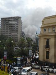 5 minutes after the explosion (prondis_in_kenya) Tags: cloud hotel kenya smoke nairobi explosion archives bomb blast nationalarchives ambassadeur moiavenue longrains
