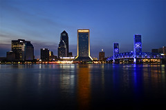 Jacksonville Skyline (AJ Brustein) Tags: road street trip bridge blue building water night canon aj lights evening bay harbor spring downtown waterfront florida dusk weekend main wells clear hour jacksonville fl fargo hdr att brustein 50d supermoon