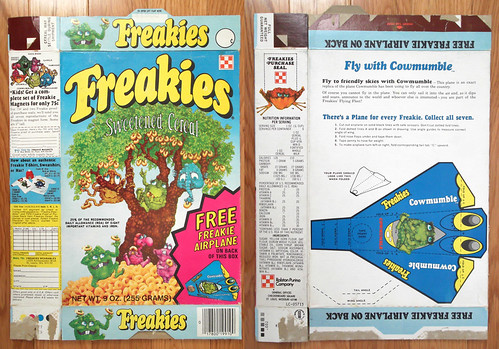 1975 Ralston Freakies Cereal Box Cowmumble airplane