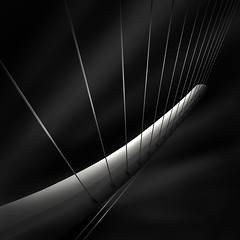 like a harp's strings IV  - radiating (Julia-Anna Gospodarou) Tags: city bridge urban blackandwhite bw white abstract detail metal architecture square construction nikon metallic tripod athens pylon greece cables calatrava wired harp tamron tension modernarchitecture santiagocalatrava 2012 manfrotto hoya longshutterspeed blacksky nd400 organicshapes manfrotto055xprob bw106 nikond7000 juliaannagospodarou siruik20x tamronaf18270mm3563pzd