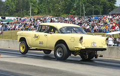 "The ""Bad Banana"" '55 Chevy Gasser at Greer (Thumpr455) Tags: auto chevrolet 1955 car sport yellow nikon automobile voiture chevy april autoracing wheelstand 55 dragracing wheelie gasser d800 greer 2016 southcarolin worldcars afnikkor3570mmf28d badbanana greerdragway southeastgassers"
